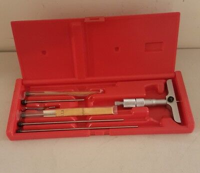 Mitutoyo 0-6 Inch Depth Micrometer Set No. 129-132 With Case