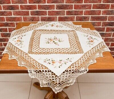 Cottage style square round vintage cream tablecloth, floral pattern linen like - Linen Like Tablecloths