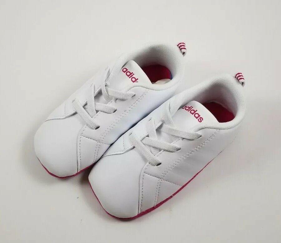 New! Baby Unisex Adidas VS Advantage Crib Shoes (White/Pink) (Size 5K)- Laceless