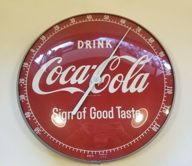 Vintage Original Coca Cola Wall Thermometer Soda Pop Advertising Sign Works