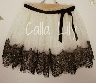 Black Lace Tutu Skirt (Girls Infant/Toddler Tulle Tutu Skirt w/ Black Lace - Sizes)