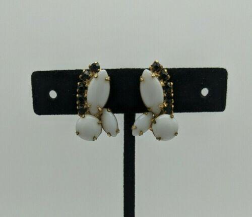Vintage Gold Tone Black Rhinestone White Milk Glass Clip On Earrings Statement