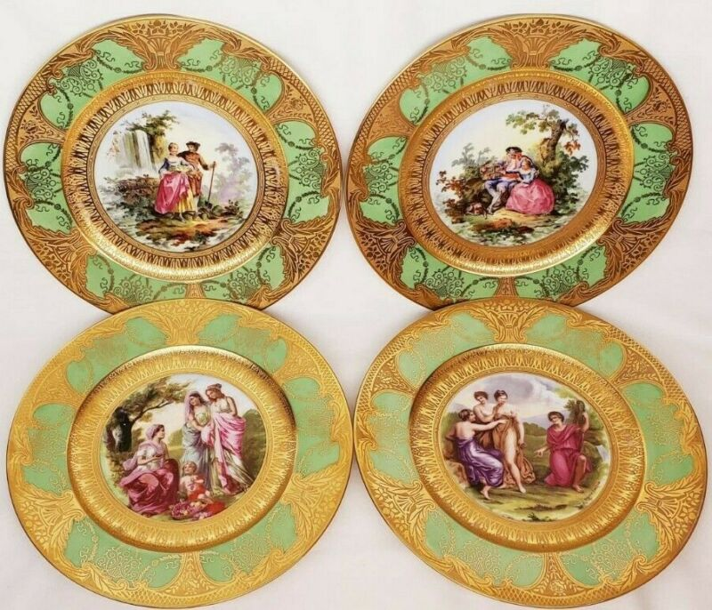 Set of 4 - Vintage Angelica Kauffman Portrait Charger Gold Cabinet Plate