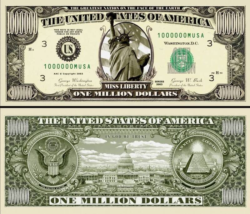 Statue of Liberty Million Dollar Bill Play Funny Money Novelty Note +FREE SLEEVE