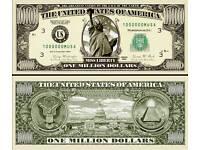 FREE SLEEVE Panama Invasion Million Dollar Bill Play Funny Money Novelty Note