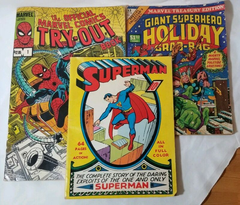 Spiderman Marvel Tryout 1,  Superhero Holiday 13,  Superman Complete Story