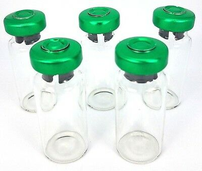 10 10ml Sterile Clear Glass Vials Usp Fda 10 Pack - Green Seals