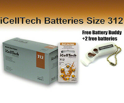 60 iCellTech Hearing Aid Batteries Size 312 + Free Keychain/2 Extra Batteries