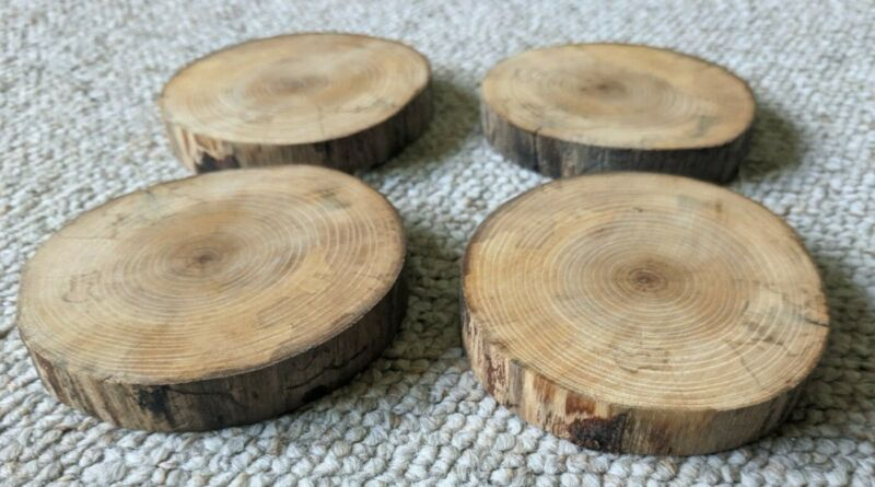 Wooden Rustic Round Coasters 4 Pieces