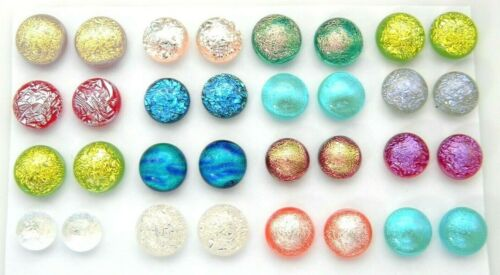 FOR POST EARRINGS TINY Lot 32 pcs round gorgeous DICHROIC FUSED GLASS (R25) CABS