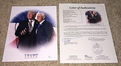President Donald Trump Mike Pence Dual Signed 8X10 Photo Maga Potus Vice Jsa