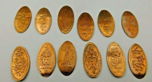ZODIAC Elongated All Copper Pressed Penny Set of 12  - 12 Signs of the Zodiac