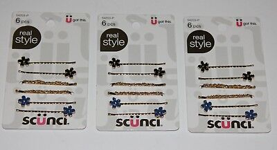 LOT (3) SCUNCI REAL STYLE HAIR CLIPS FLOWER DECOR WEDDING PROM