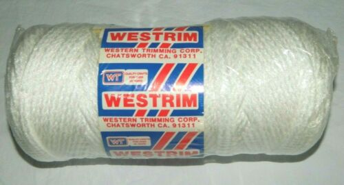 Vintage Westrim 100% Braided Polypropylene Cord, Macrame, 82 Yards, White