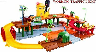 Big Train Tracks Set Toy for Kids with Upper and Lower Level, Tunnels & Bridges