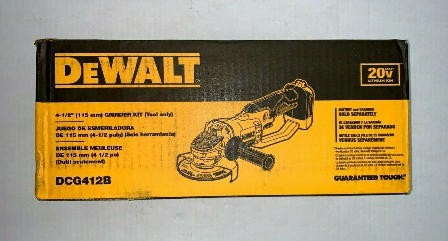 "DeWalt 20V DCG412B 4.5"" Cordless Angle Grinder w/ Brake Bran"