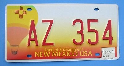 "NICE!  2004  NEW MEXICO AUTO HOT AIR BALLOON  LICENSE PLATE "" AZ 354 "" ARIZONA"