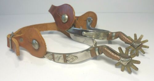 Western Cowboy Spurs Gal Leg 10 Point Rowels Mountings Engraving Copper Silver