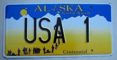 """ALASKA VANITY LICENSE PLATE """" USA 1 """" CHEVROLET CHEVY CORVETTE VETTE"""