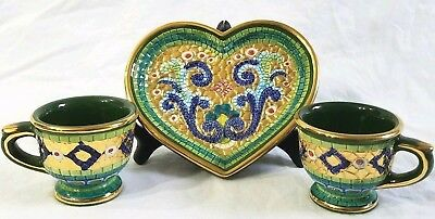 Italian Gold Mosaic Sympathy Plate Tea Cup Set Pure Hand Painted Green Coffee Mugs