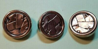 3 METAL BACKED BUTTONS W/ POLYMER CLAY PATTERNED INSERT SILVERTONE - 1 1/8