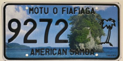 AMERICAN SAMOA Palm Tree License Plate - AS #9272