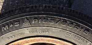 Four used winter tires with steel rims Kitchener / Waterloo Kitchener Area image 3