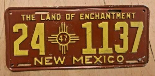 "1947 NEW MEXICO LICENSE PLATE "" 24 1137 "" NM 47  ALL ORIGINAL CONDITION"