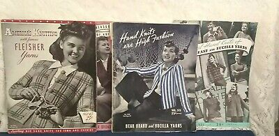 Vtg 1940 yarn knitting Bear and Bucilla Fleisher Instruction booklet magazines 4