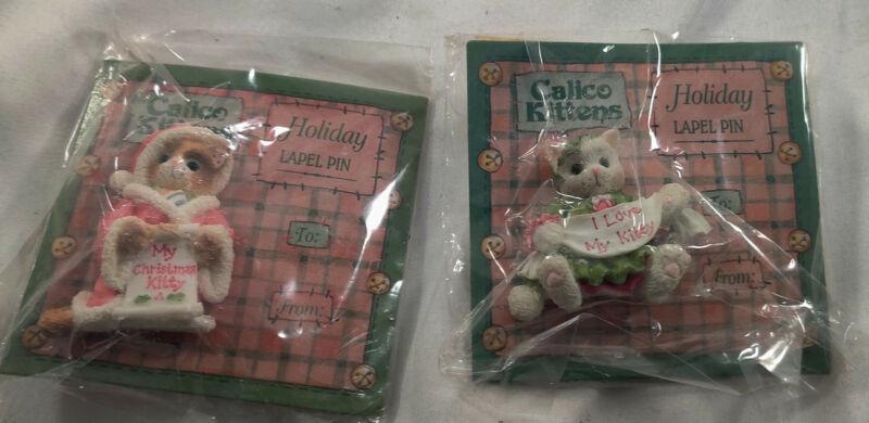 2 Vintage Enesco Calico Kittens Holiday Lapel Pins 1996 NIP