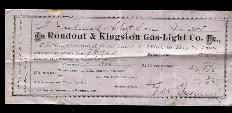 Rondout & Kingston Gas-Light Co. Gas Bill For April1 to May 1, 1890