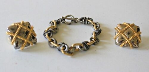 VIntage Silver & Gold-Tone Square Pierced Earrings and Link Bracelet