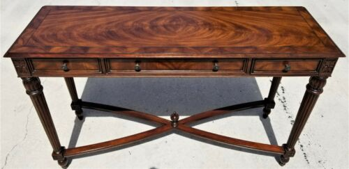 """55"""" HEKMAN Traditional Open Style Flame Mahogany 3 Drawer Console Sofa Table"""