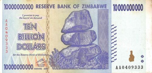 10 BILLION ZIMBABWE DOLLAR,2008,Circulated F MONEY CURRENCY [TRILLION 20 50 100]