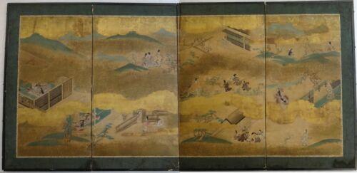 "Antique Japanese 4 Panel Byobu Screen - Tales of Genji.  73"" x 36""."