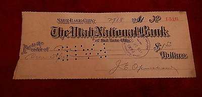 1911 Salt Lake City Utah National Bank Check  No 1516 22Nd Ward Co Op Lds Mormon