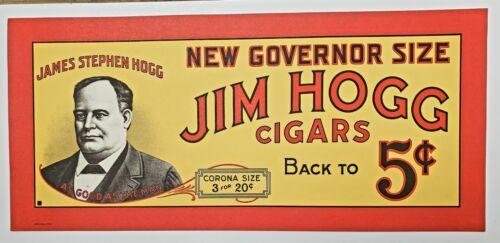 Original Vintage 1930s Jim Hogg Cigar Advertising Sign Poster Texas Governor