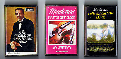 3 CASSETTE TAPES MANTOVANI MASTER OF MELODY,THE MUSIC OF LOVE,WORLD OF VOLUME 2