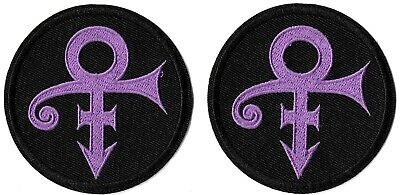 Prince - The Artist Round Purple Logo Patch Lot of 2 Embroidered Iron or Sew On