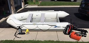 12 foot, 5 Person Inflatable Boat with Rigid Floor and Motor