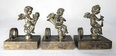 3 Vintage Place Card / Calling Card Holder Metal Cherubs Playing Instruments  (Place Card Holder)