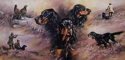 GORDON SETTER DOG FINE ART LIMITED EDITION PRINT - Mick Cawston Rare Edition