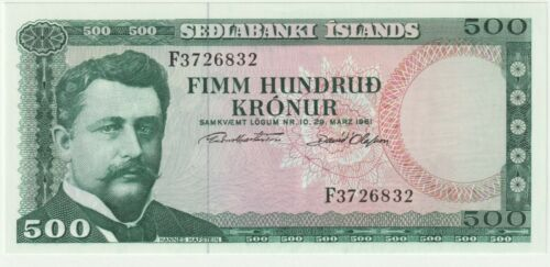 Iceland 500 Kronur Banknote 1961 Choice Uncirculated Condition,Pick#45