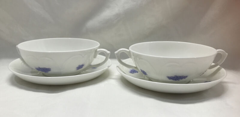 Vintage Adderley Blue Chelsea Cream Soup & Saucer Bone China Set Of 4