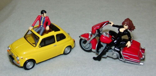 RARE LUPIN the 3rd Lupin w/Fiat & Fujiko w/Motorcycle Complete Set    USA SELLER