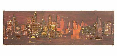 Vintage Mid Century New York City Nightime Skyline Cityscape Large Painting
