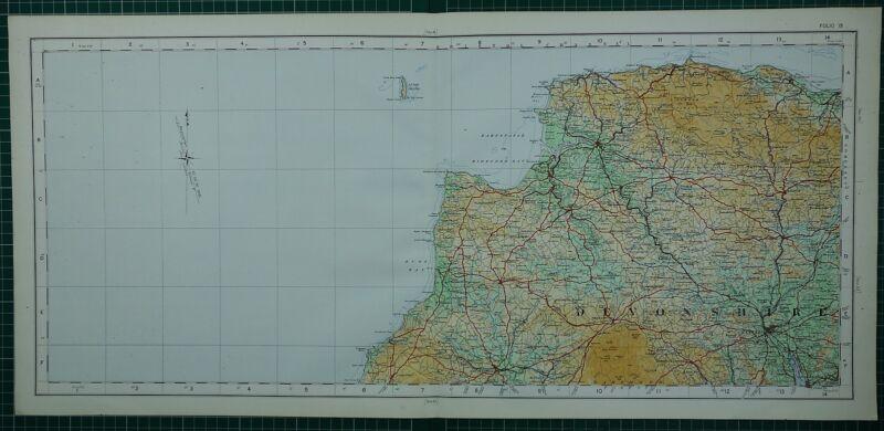 1922 LARGE MAP ~ DEVONSHIRE LAUNCESTON BARNSTAPLE EXETER DULVERTON
