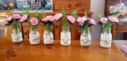 Wedding decor decorated bottles table runners etc