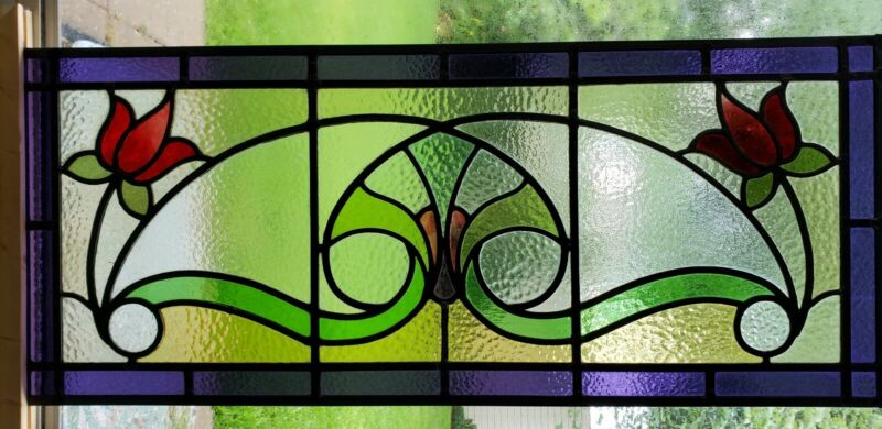 ANTIQUE ENGLISH STAINED GLASS WINDOW PANEL