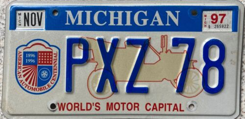Michigan Worlds Motor Capital Optional License Licence USA Number Plate PXZ 78